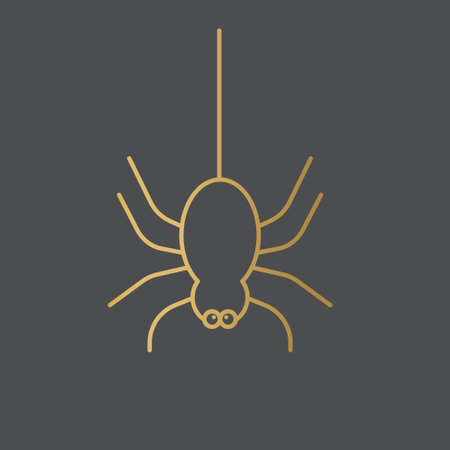 funny golden spider icon- vector illustration