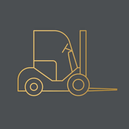 golden forklift icon - vector illustration