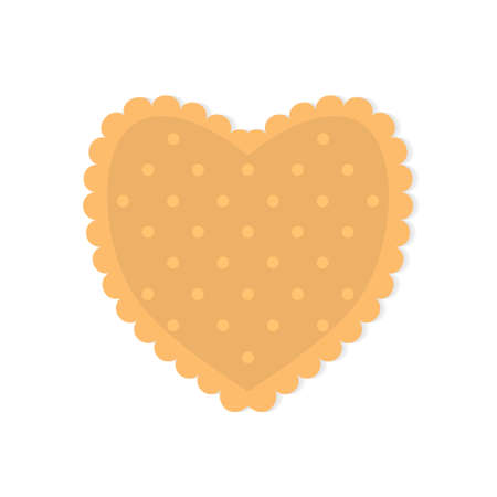heart shape biscuit cookie icon- vector illustration