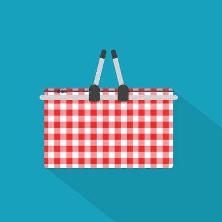 checkered thermal picnic basket icon- vector illustration Illusztráció