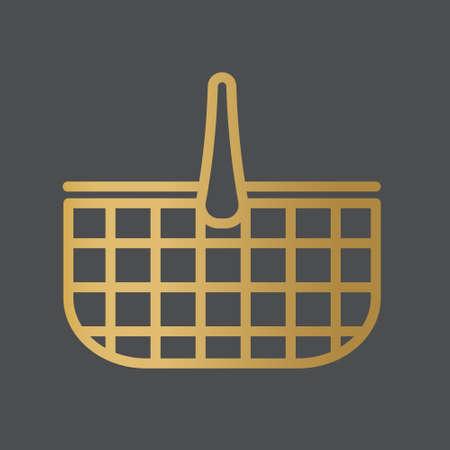 golden picnic basket icon- vector illustration