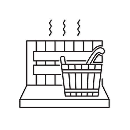 wooden sauna spa icon- vector illustration Stock Illustratie