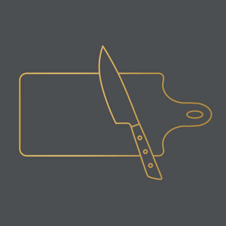 golden kitchen chopping board and knife icon- vector illustration