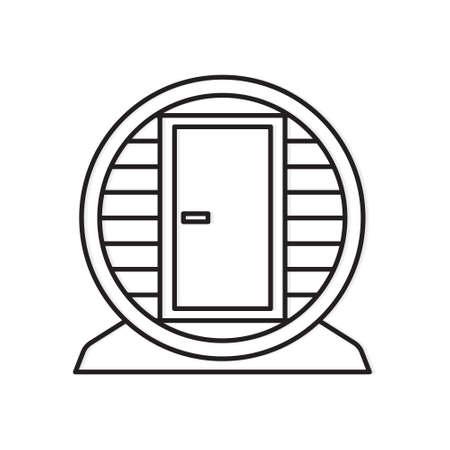 outdoor mobile wooden barrel sauna icon- vector illustration