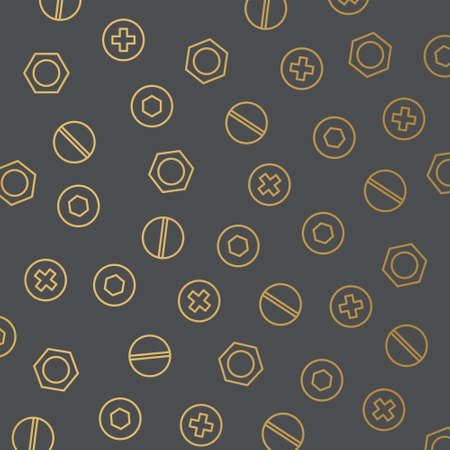 golden nuts and bolts pattern - vector illustration