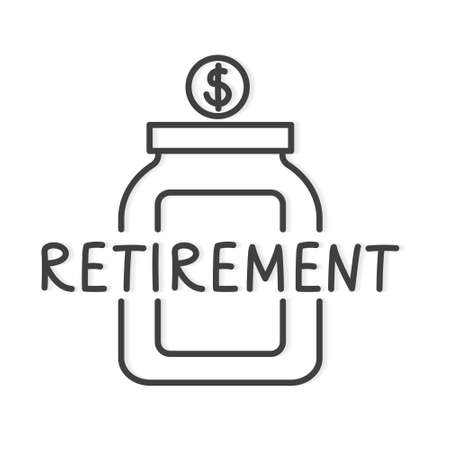 retirement word and jar with dollar icon- vector illustration