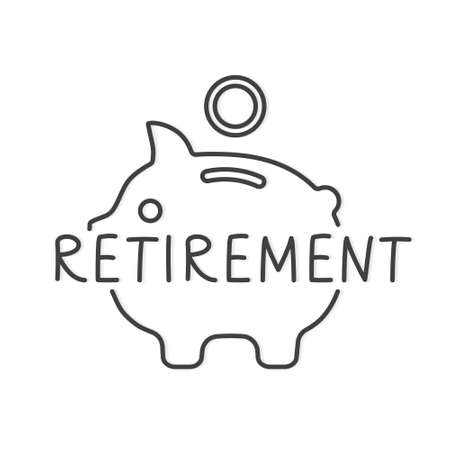 retirement word and piggy bank icon- vector illustration