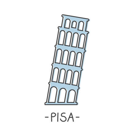 Leaning Tower, Pisa, Italy landmark icon- vector illustration