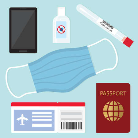 flyight travel during coronavirus pandemic, protective measures, swab test, face mask, antibacterial gel - vector illustration 矢量图像