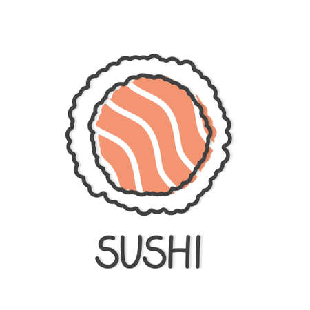 sushi roll with salmon icon- vector illustration