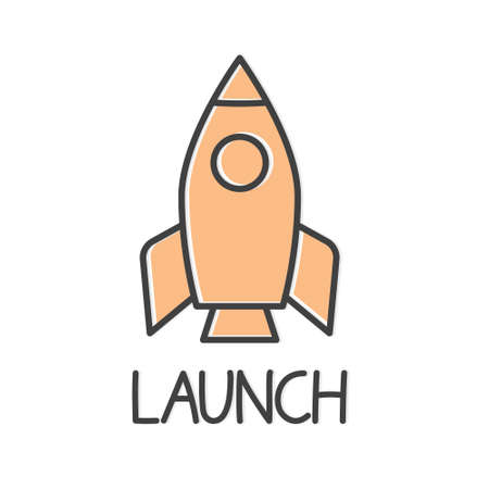 launch word and spaceship icon- vector illustration
