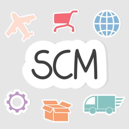 SCM (Supply Chain Management) business concept - vector illustration Ilustracje wektorowe