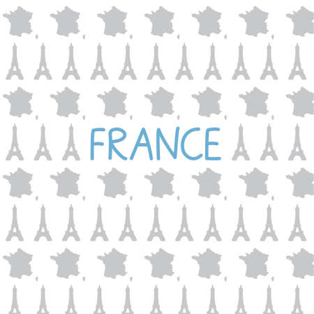France map and Eiffel tower pattern- vector illustration 向量圖像