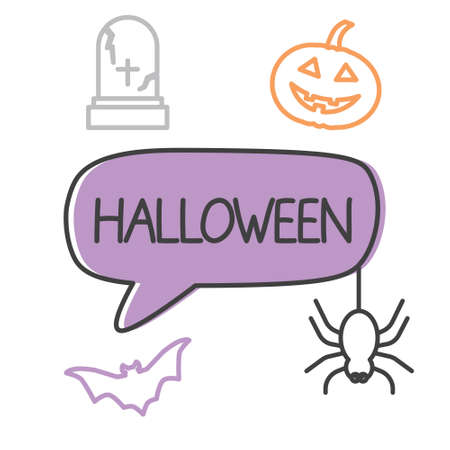 halloween word and icons - vector illustration