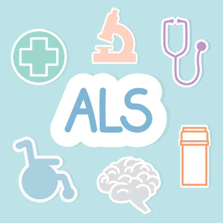 ALS (Amyotrophic Lateral Sclerosis) acronym and related icons- vector illustration Vector Illustration