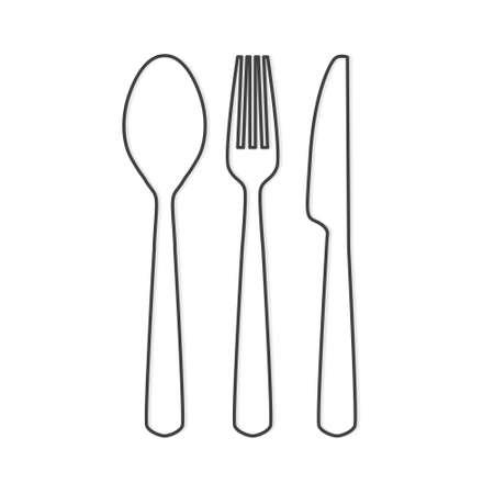 black cutlery set icon - vector illustration Vettoriali