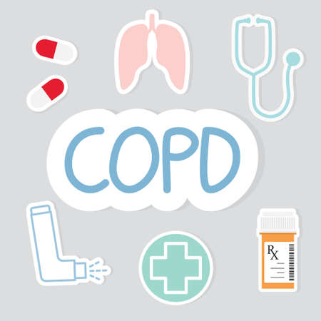 COPD (Chronic Obstructive Pulmonary Disease) icon - vector illustration 矢量图像