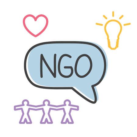 NGO (Non-Governmental Organization) acronym - vector illustration