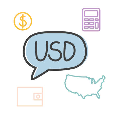 USD american dollar concept - vector illustration