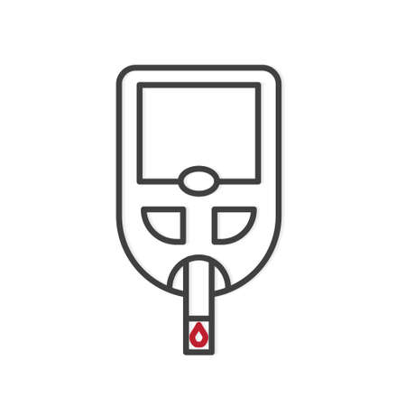 glucometer with blood drop icon -vector illustration