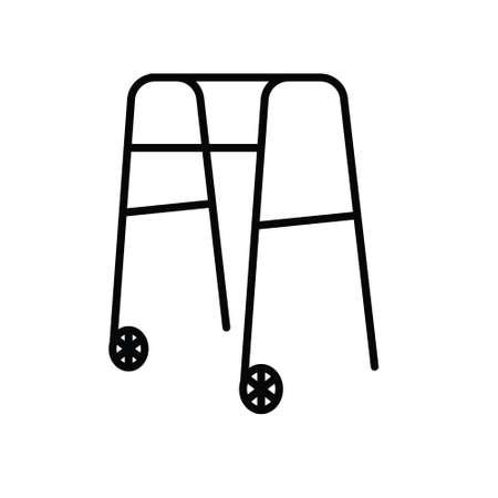rehabilitation frame indoor, walker rollator icon icon- vector illustration