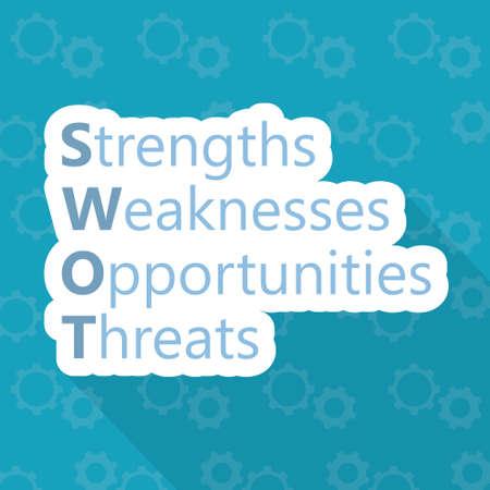 SWOT, Strengths Weaknesses Opportunities Threats concept - vector illustration