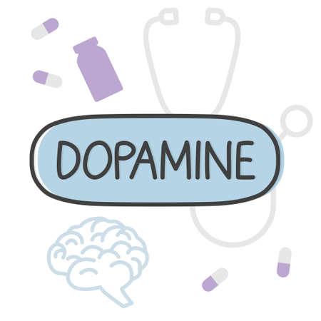dopamine word concept - vector illustration
