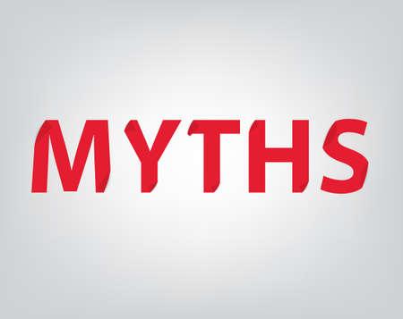 myths word concept, folded paper effect- vector illustration