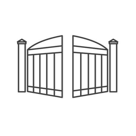black open modern gate- vector illustration