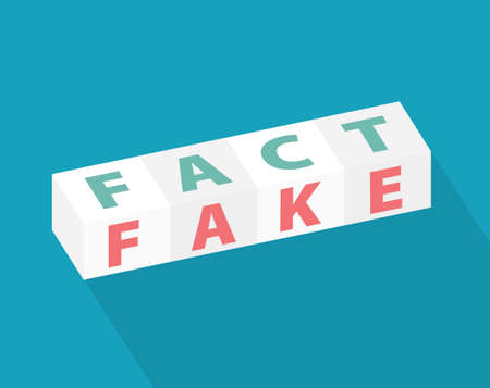 word fact and fake written on cubes- vector illustration