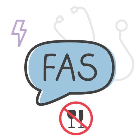 FAS (fetal alcohol syndrome) medical acronym concept- vector illustration