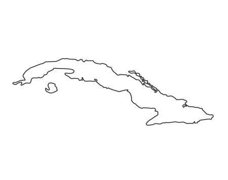 black outline of Cuba map - vector illustration
