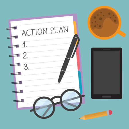 action plan written in spiral notebook - vector illustration