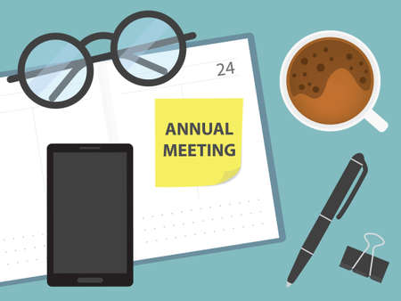 annual meeting written on memory note in calendar - vector illustration