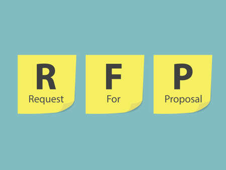 RFP Request For Proposal written on yellow sticky notes - vector illustration