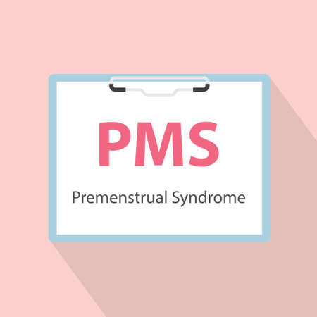 PMS Premenstrual Syndrome written in patient card - vector illustration