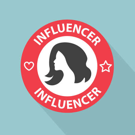 influencer stamp with shadow- vector illustration