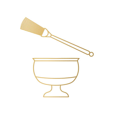 golden holy water bowl and sprinkler, consecration concept- vector illustration