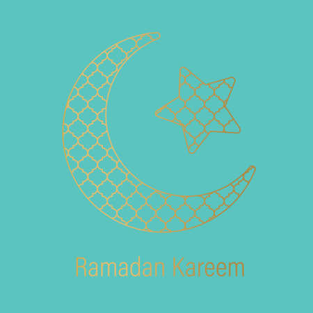 Ramadan Kareem greeting card, golden crescent moon and star filled with arabic pattern- vector illustration