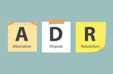 ADR Alternative Dispute Resolution written on memory papers- vector illustration