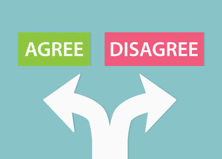 agree or disagree choice concept- vector illustration