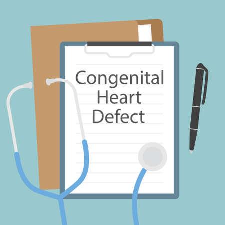 CHD Congenital Heart Defect written in patient card- vector illustration
