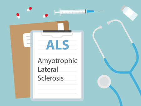 Amyotrophic Lateral Sclerosis written in patient card- vector illustration