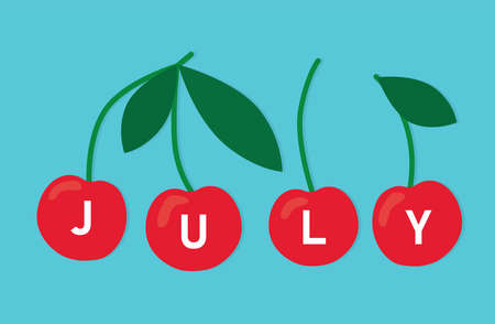 july word written on ripe cherry fruits vector illustration