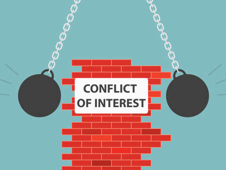 conflict of interest wriiten on brick wall wrecking from two sides- vector illustration Ilustración de vector
