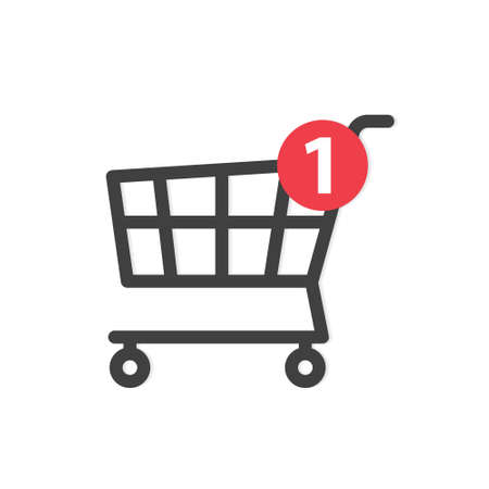 cart with notification sign, concept of online shopping, e-commerce - vector illustration