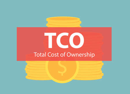 TCO Total Cost of Ownership banner over stack of dollar coins- vector illustration