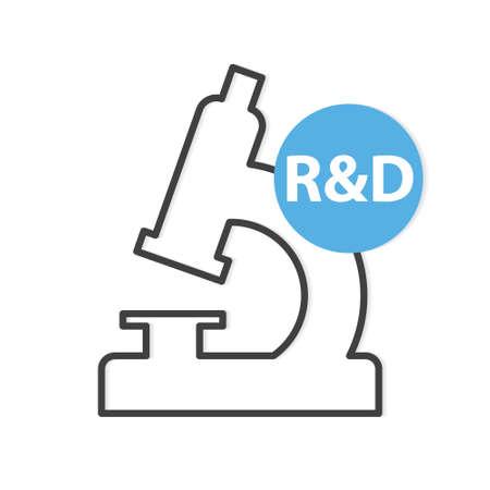 R&D (Research and development) acronym and microscope icon- vector illustration Vektoros illusztráció