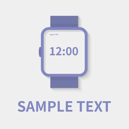 Watch icon in flat style - timer on gray background. Vector design element