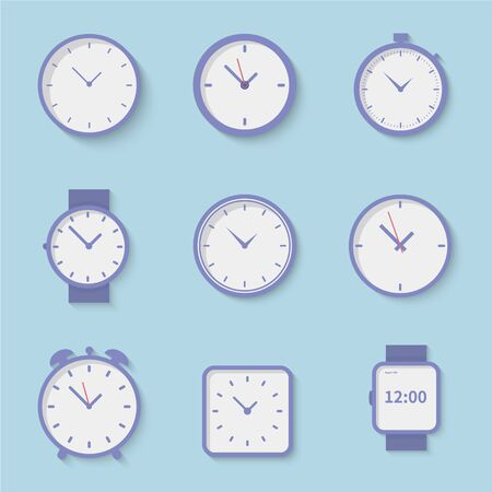Clock icons set collection vector illustration - Flat style - Clock on blue background - Business watch